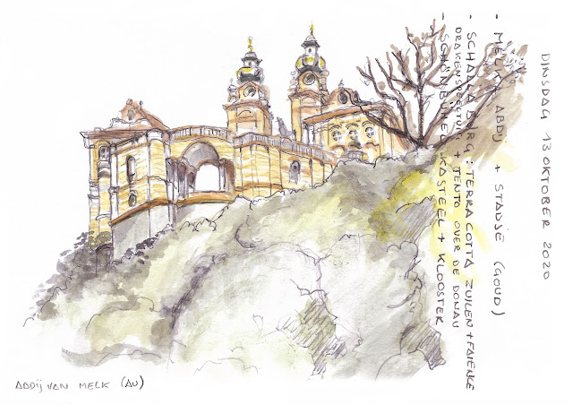 Melk Abbey - Der Wachau (AU)  - watercolor, sketched on location with some notes from my travel diary - by Linda S. Leon