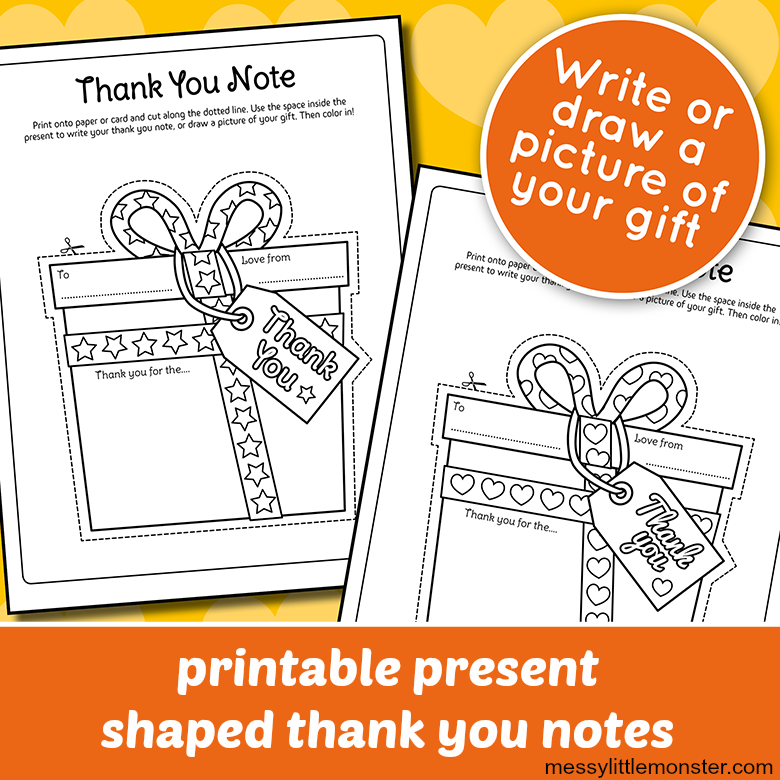 free printable thank you notes for kids