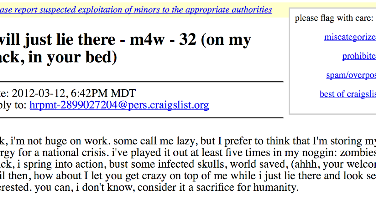 Anyone ever hook up off craigslist - Prosolution pills