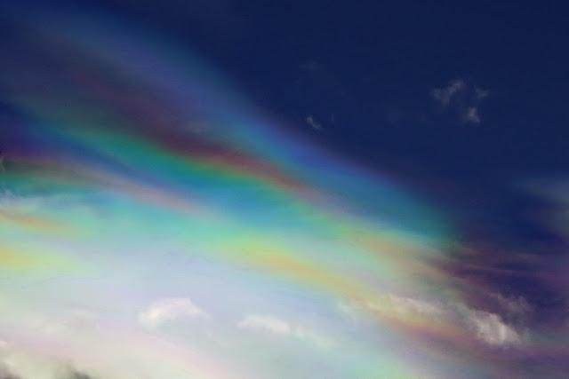 irisierend, wolken, Himmel, irisierende wolken, regenbogenfarben