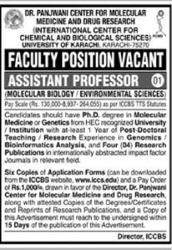 University of Karachi UOK Jobs 2020 Latest Advertisement Application form Via www.iccs.edu.pk.