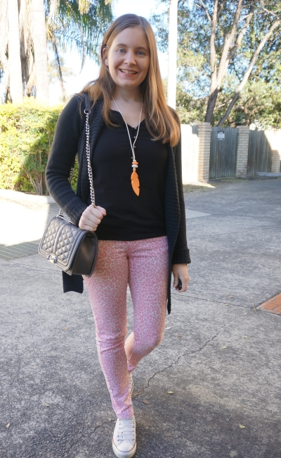 black henley, belted knit cardigan, pink leopard print jeans, Converse | Away From Blue
