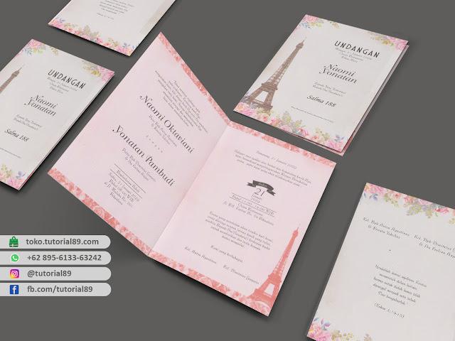 Undangan pernikahan 89.S188 - Seimpel Lipat 2 +stiker label undangan
