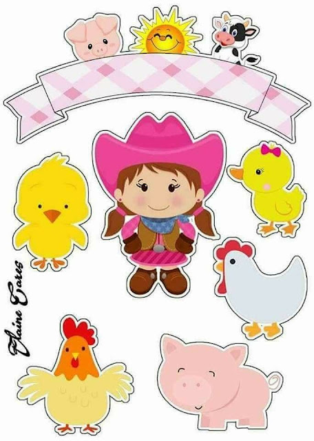 Baby Farm with Cowgirl: Printable Cake Toppers.