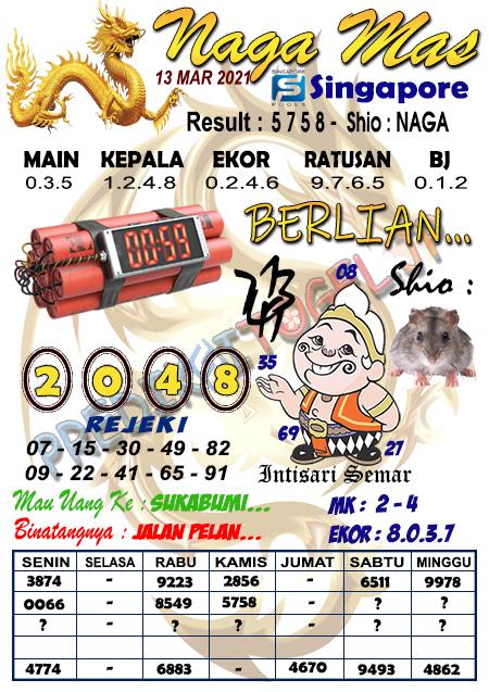 Syair Naga Mas SGP Sabtu 13 Maret 2021