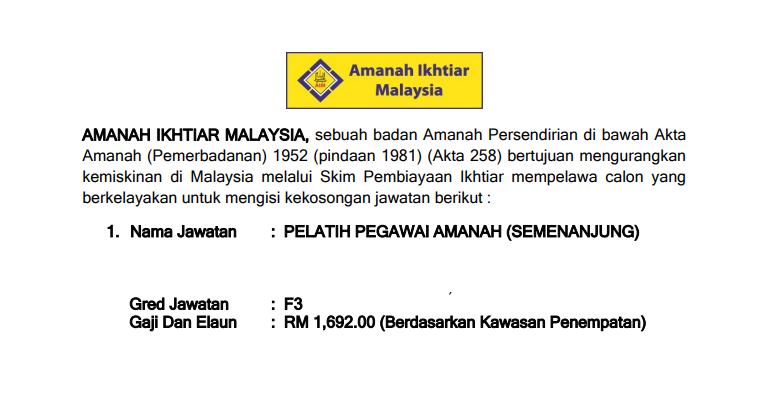 Jawatan Kosong di Amanah Ikhtiar Malaysia AIM [ Baru Dibuka ]