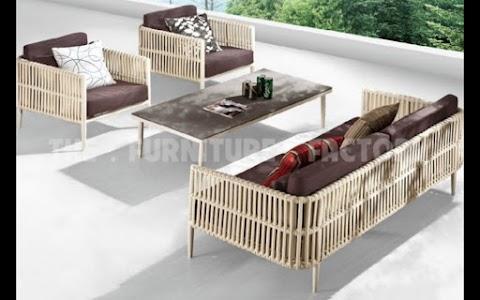 Bộ Sofa Mây Nhựa Bản Lớn Ngoài Trời Bàn Mặt Gỗ TFF-003