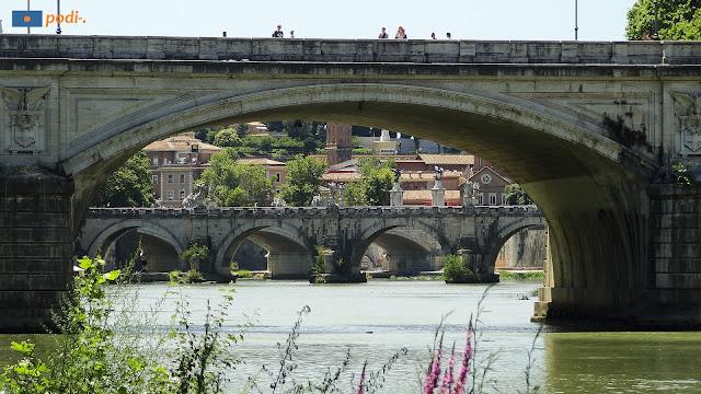 Fiume Tevere a Roma e qualche ponte che lo attraversa.