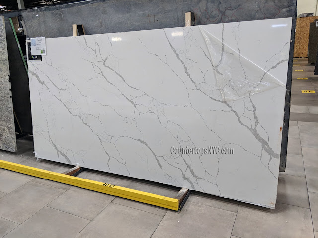 Calacatta Laza white quartz slab NYC