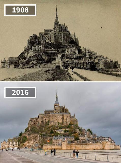 Antes y después de La isla de Mont-Saint-Michel, Francia
