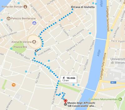 Mapa Verona Casa da Julieta Italia