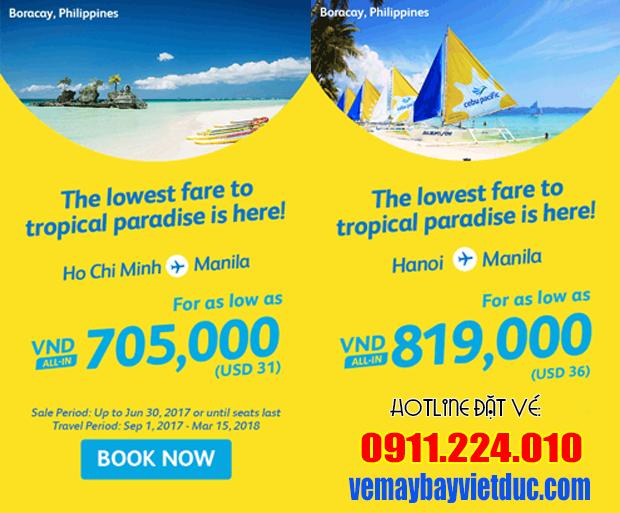 Bán vé khuyến mãi đi Manila chỉ từ 705,000 đồng hãng Cebu Pacific