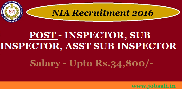 National Investigation Agency Recruitment 2017, Deputation vacancies, latest Govt jobs 2017