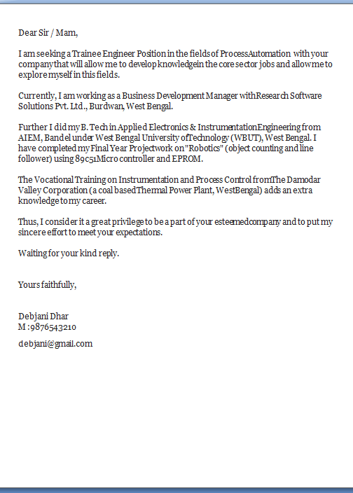 cover letter for fresher computer engineer