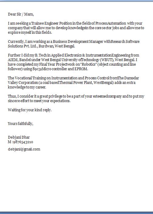 Job Application Letter For Electrical Engineer Fresher | Resume ...