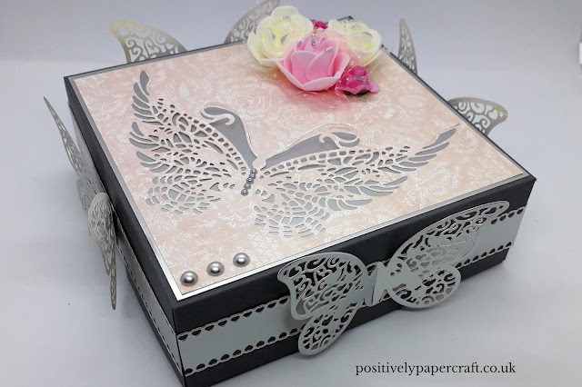 Positivelypapercraft Butterfly box using Alinacraft dies