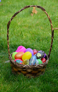 easter basket in the grass