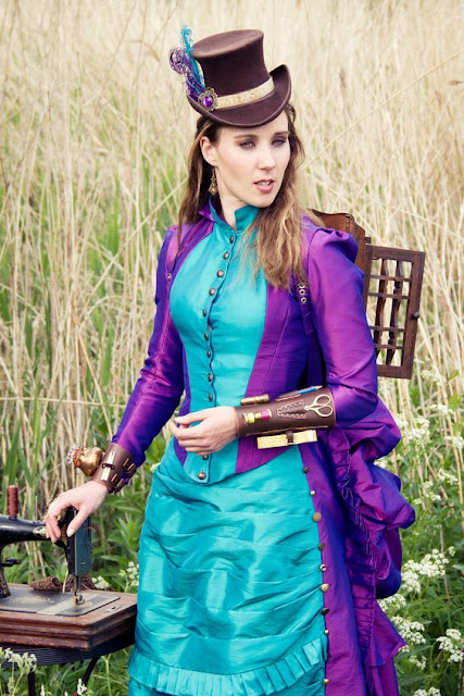 Steampunk Seamstress in purple and blue victorian dress (skirt plus jacket bodice)
