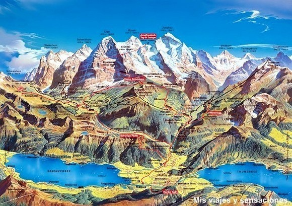 Mapa del valle de Lauterbrunnen, Suiza