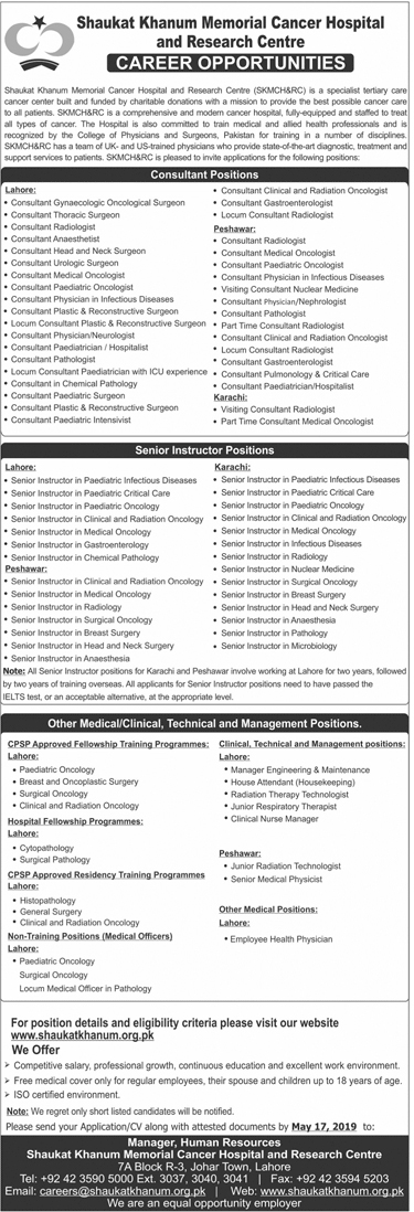 Latest Jobs In Shaukat Khanum Memorial Cancer Hospital 05 May 2019