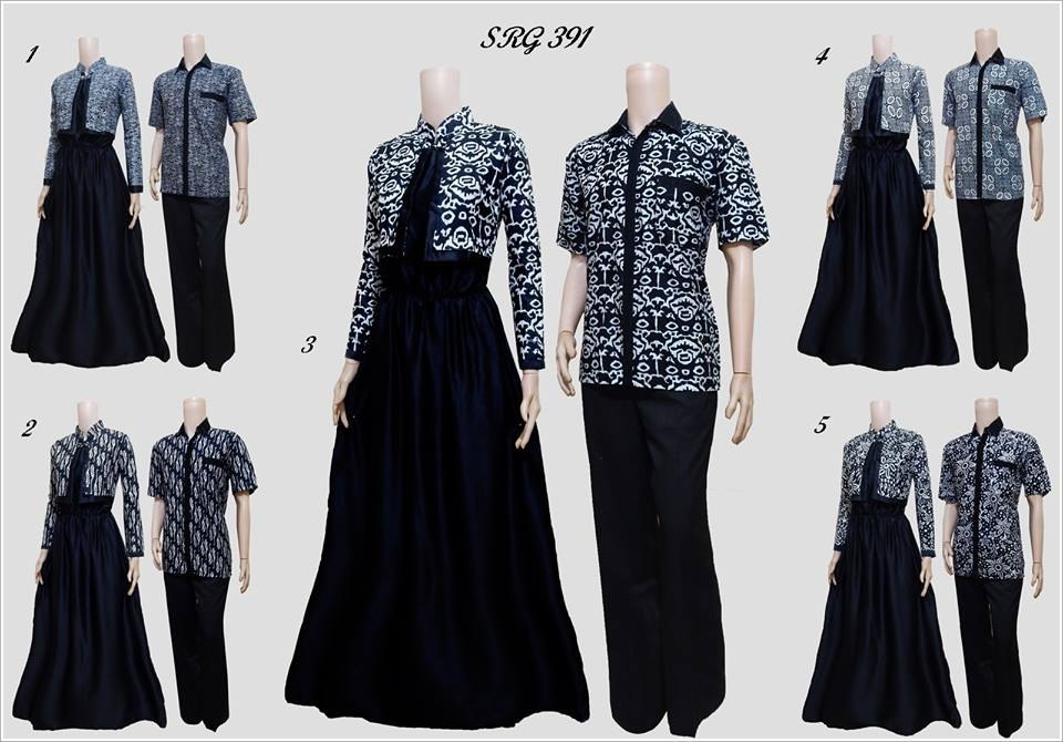Baju Batik Gamis Couple Model Bolero Tema Hitam Srg 391