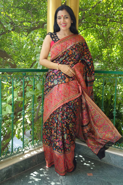 black Kashmiri Kani saree from sohum sutras