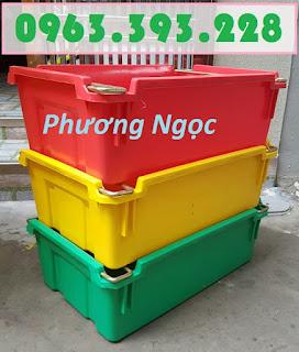 Hộp nhựa A2, thùng nhựa đặc có quai sắt, thùng đặc có quai, sóng nhựa bít A2