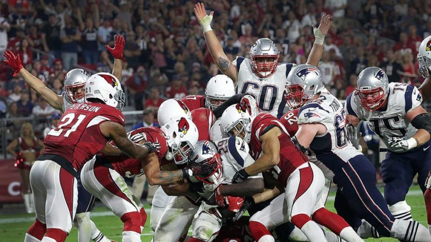 LeGarrette Blount (29) scores from eight yards out in New England s 23-21  win over Arizona on Sunday night. d39480c9b
