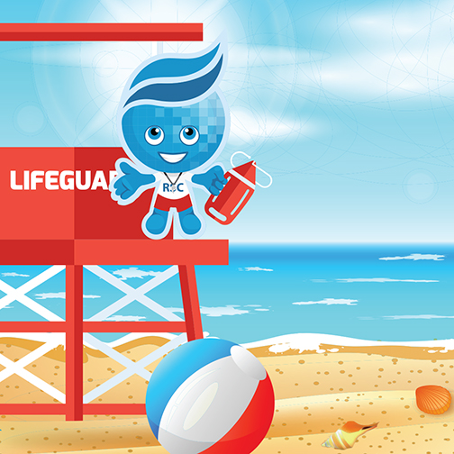 Rio Salado Mascot Splash in lifeguard gear on a beach
