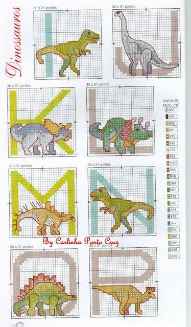 Alfabeto Dinosaurio punto de cruz