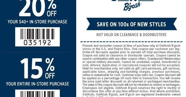 photo regarding Oshkosh Printable Coupon known as OshKosh Bgosh Printable Discount coupons April 2018 Printable