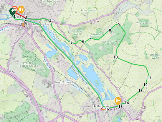 Map for Walk 97: Ware South-West Loop  Created on Map Hub by Hertfordshire Walker  Elements © Thunderforest © OpenStreetMap contributors  Note: There is a larger, more-detailed map embedded at the end of these directions
