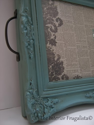 Picture frame painted with Provençe with handles attached to the sides