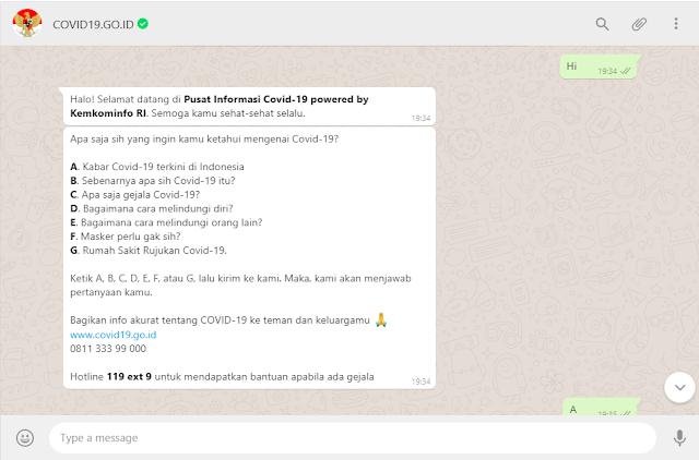 Berikut ini chatbot whatsapp untuk mengetahui info seputar covid19 di indonesia.
