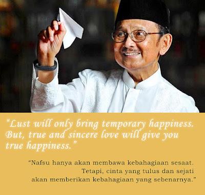 quotes kata mutiara bahasa inggris dari bj habibie pegang pesawat kertas senyum