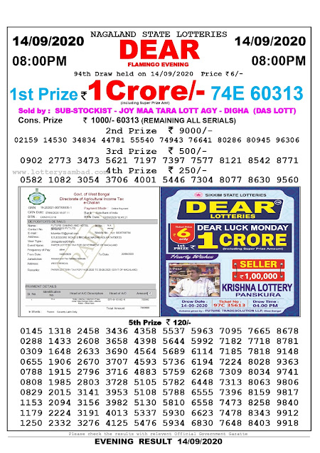 Nagaland State Lottery Sambad 14-09-2020 Today Result 8 PM