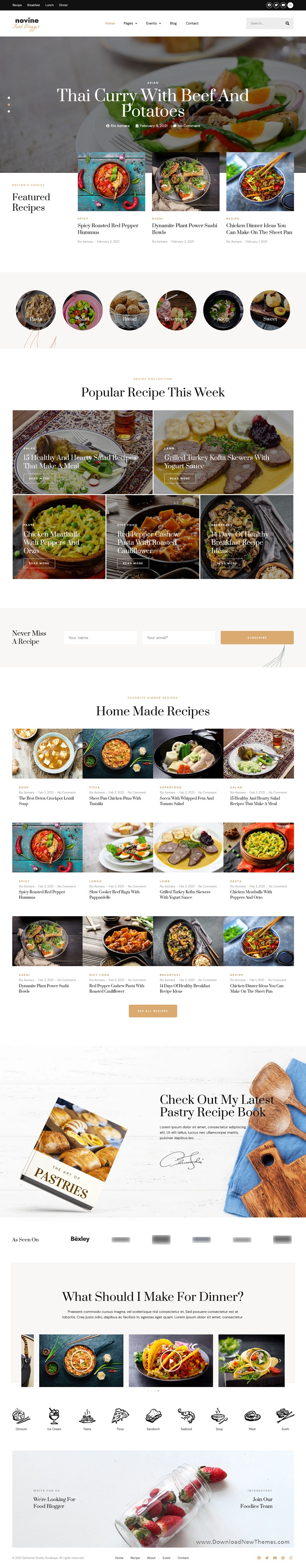 Food Recipe Blog and Magazine Template