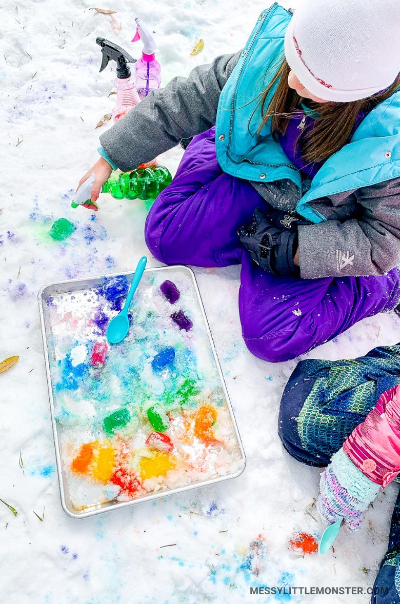 Ice cube sensory play snow activity for kids