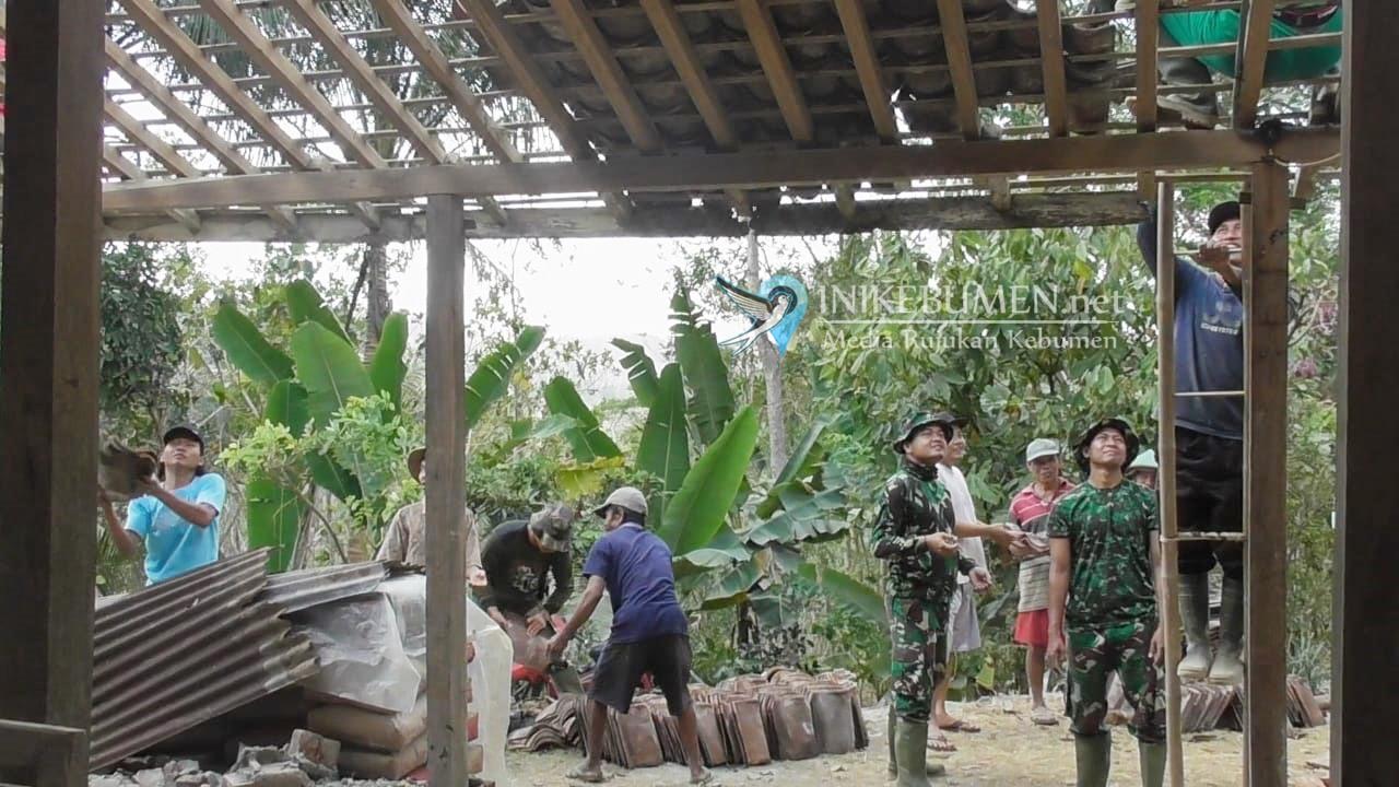 Rumah Reot Milik Janda Tiga Anak di Padureso Direhab TNI