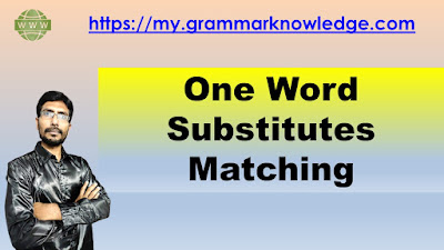 One Word Substitutes Matching Worksheet