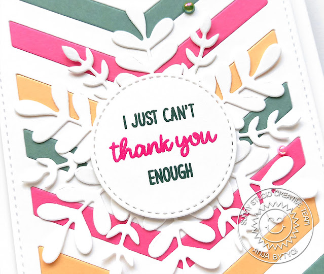 Sunny Studio Stamps: Words of Gratitude Frilly Frame Dies Winter Greenery Card by Anja Bytyqi