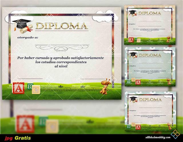 4 Hermosas plantillas de diplomas para kinder y parvularia