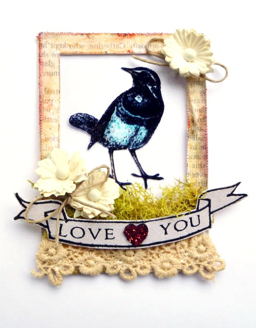 Stamped Acrylic Window Bird Artist Trading Card by Dana Tatar
