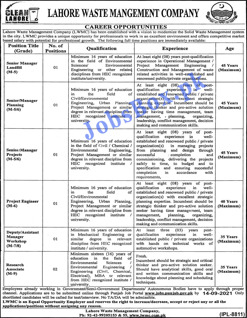 Lahore Waste Management Company LWMC Jobs 2021 Latest