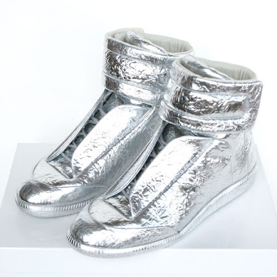 maison martin margiela silver metallic future velcro sneakers