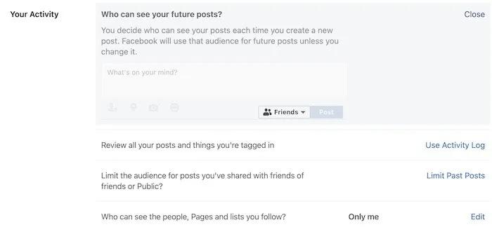 اجعل ملفك الشخصي على Facebook الإعدادات الخاصة المنشورات المستقبلية