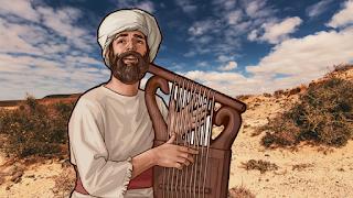 Personagem bíblico Habacuque lovando com instrumento de cordas