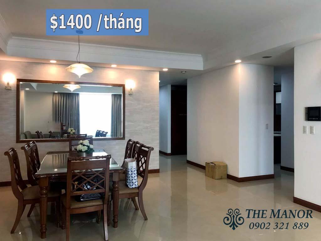 cho thuê căn hộ với 3 phòng ngủ khu The Manor 1 block AW 1400$/tháng - pic 1
