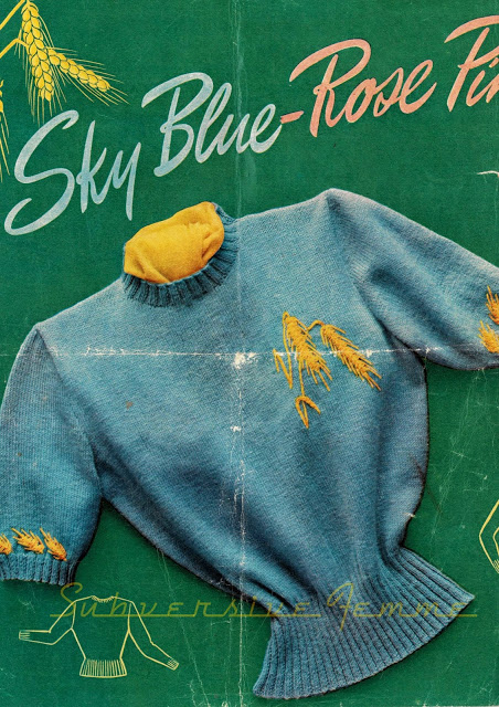The Vintage Pattern Files Free 1950's Knitting Pattern - Novelty Golden Barley Jumper