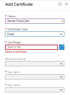 Add public certificate in Integration account